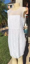Diane von Furstenberg 'Nisha' SLEEVELESS SHEER FLOWER LACE SHEATH DRESS Sz 14