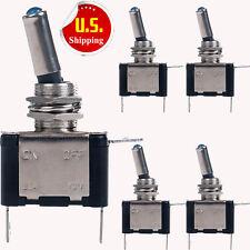 5-Pack 12V 20A Blue LED Light Toggle Rocker Switch Control ON/OFF Car Boat ATV