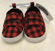 Buffalo Check Baby Boys Old Navy Cute Sneakers Shoes Nwt Size 6-12 Months Infant