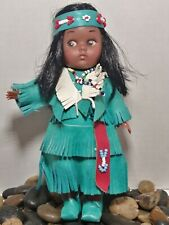 Carlson Dolls Buffalo Hunter Princess Native Doll w/Papoose Teal Fringe 7""