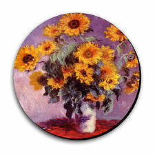 Art Print Painting Monet Sunflowers Mouse Pad 8 in Diameter x 8th Thick