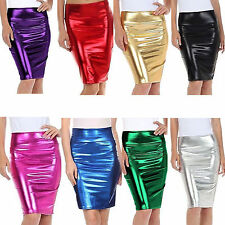 Women's Ladies Metallic Shiny PVC Wet Look High Waist Pencil Midi Skirt Party