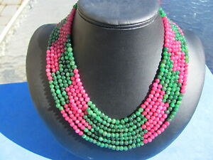 FANTASTIC RUBY /Emerald 7 line necklace 18 inches to 36 inches adjustable