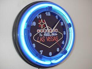 Las Vegas Casino Gambler Bar Man Cave Neon Wall Clock Sign