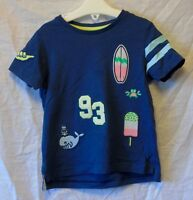 Baby Boys TU Dark Blue Embroidered Surf Beach Lolly Tee T-Shirt Age 12-18 Months