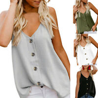 Summer Womens V-neck Vest Sleeveless Button Shirt Blouse Ladies Casual Tank Tops