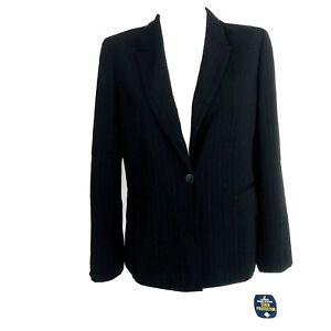 Charter Club Blazer Petite 8P Ladies Lined Suit Jacket Polyester Black Pinstripe