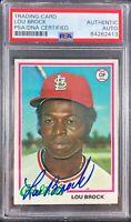 Lou Brock auto card Topps 1978 #170 MLB St. Louis Cardinals PSA Encapsulated