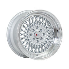 F1R Wheels F01 Rims 15x8 4x100 4x114.3 +25 Offset Machined Silver w/Polished Lip