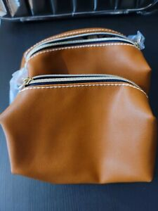 2 Estee Lauder Brown Faux Leather Cosmetic Makeup Bag