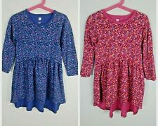 2 pc Girls Tea Collection Floral Pink & Blue High Low Dress Size 5