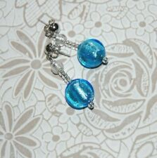 Murano Glass Earrings - Coloured Blue Glass Beads NEW & BOXED