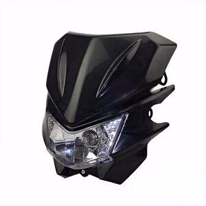 Black 35W Dirt Bike Headlight Lamp For Motorcycle Kawasaki Suzuki Yamaha