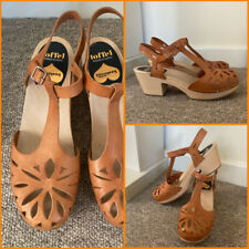 Toffel Swedish Hasbeens In Nature Clog Shoes Wooden Sandals Leather 7uk 41eu VGC