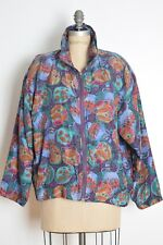 vintage early 90s jacket plum silk windbreaker pottery print bomber coat