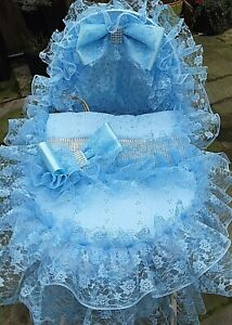FRILLY BLING LACEY MOSES BASKET COVERS IN BLUE WHITE AND PINK     ROMANY❤️