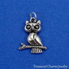 Silver OWL ON BRANCH Hooter Bird CHARM PENDANT