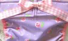 NEW! LULIBOOS DESIGNER DOG PANTY BRITCHES DIAPER PINK ROSES ON LAVENDER COTTON