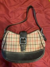 Coach Tattersall Wool Shoulder Hobo Bag Camel Plaid w Buckle clasp EUC