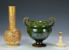 Three Piece Lot Antique Japanese Pottery Silver Overlay Awaji and Satsuma