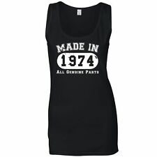 Birthday Ladies Vest Made in 1974 All Genuine Parts Novelty Slogan Old