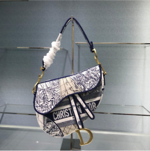 Christian Dior Saddle Bag In Blue Camouflage Embroidery