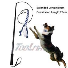 Aluminum Alloy Dog Flirt Pole Extendable + 2 Braided Cotton Lures for Fun