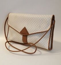 Liz Claiborne Shoulder Bag Purse Tan Leather Trim Off White Handbag Tote Lined