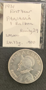 Panama 1931 1 Balboa / First Year / 27 Gr .900 Silver Crown & *No Reserve!