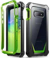 Galaxy S10e Rugged Clear Case, Poetic® Support Wireless Charging Cover Green