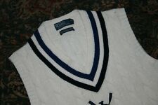 Polo Ralph Lauren White Cotton Cashmere V Neck Tennis Sweater Medium M 1922 1923