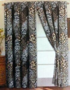 4 pc Black Patchwork Jungle Safari Animal Window Curtains Panels Drapes 84 in L