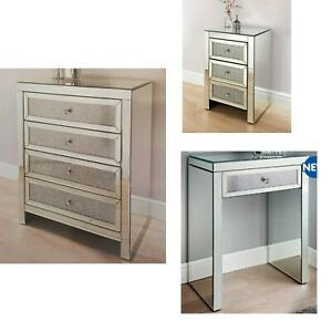 Mirrored Furniture Bedside Table Chest Drawers Dressing Crystal Console Table