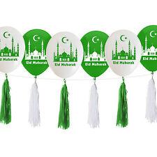 Eid Mubarak Ramadan Celebration Balloons & Hanging Paper Tassels - Green & White