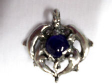 X LARGE 4 DOLPHINS PLAYING AROUND A COBALT BLUE BALL PEWTER PENDANT ADJ NECKLACE
