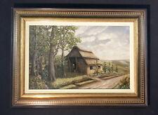 Original altes Ölgemälde: Landschaftsgemälde mit Reetdachhaus in Heidelandschaft