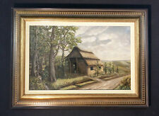 PINTURA DE PAISAJE CON reetdachhaus en heidelandschaft. Original Antiguo al óleo