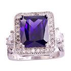 Size 6 7 8 9 10 11 Noble Amethyst & White Topaz Gemstone Silver Ring Emerald Cut