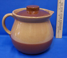 Vintage Pottery Pitcher w/ Lid Cabinart Bake Ware USA Made 2 Tone Brown Glaze