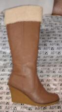Apt 9 Knee High F Leather Sherpa Fur Trim Boot Wedge Platform Heel Shoe 8.5 $100