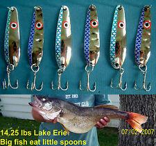 (6) Blue Flash Trolling Flutter Spoons Lake Erie Walleye Candy