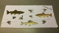 Game Fish and Flies  Angling hand towel personalised with name or club