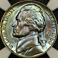 Royal Blue Toned 1960 P NGC MS65 Jefferson Nickel 5c Two Sided Color PQ