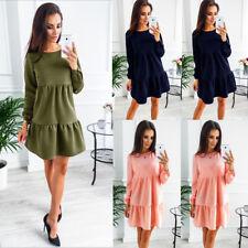 Damen Winter Lotusblatt Mini Slim Basic Kleid Herbst Langarm Party Abendkleid GS