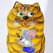 """6"""" CATS MATRIOSHKAS RUSSIAN 5 PIECE SET NESTING DOLLS MATRYOSHKA BABUSHKA 5PCS"""