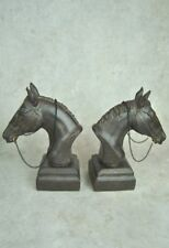 Book ends Vintage style Horse Head Heavy Bookends Bronze Black Distressed