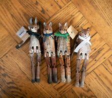 4 x Wooden Animal Doll Movable Wood Toy Figurine X'mas Decor Alice in Borderland