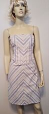 Carolina Herrera New York Strapless Dress Sz 10 Blue White Striped $1253 NWT!
