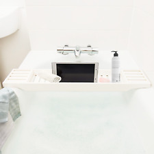 White Bamboo Wooden Bath Tub Tidy Tray Storage Caddy Bathroom Shelf Organiser