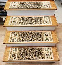 "Ivory Leopard Print Stair Tread Set of 13 Non Slip Treads 31"" x 9"" Rug Depot"